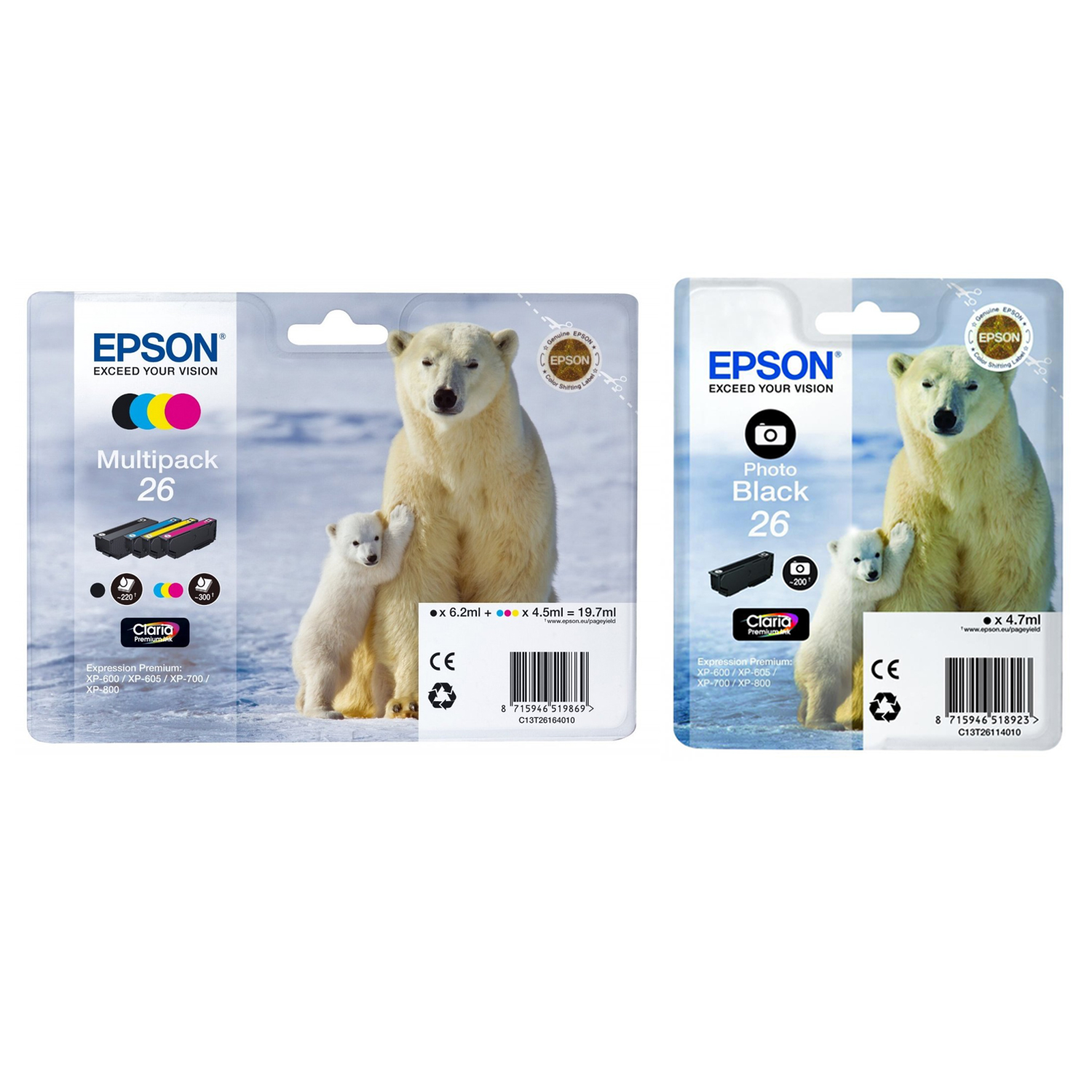 Original Epson 26 C, M, Y, K, PB Multipack Ink Cartridges (C13T26114012 / C13T26164010)