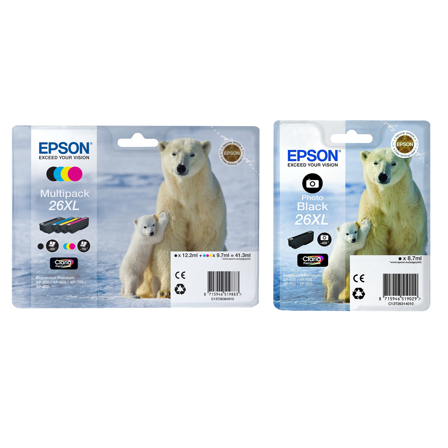 Original Epson 26XL C, M, Y, K, PB Multipack High Capacity Ink Cartridges (C13T26314012 / C13T26364010)