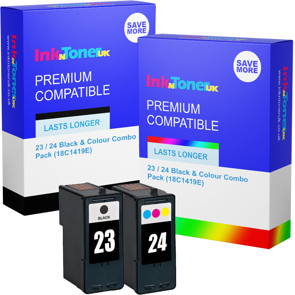 Premium Remanufactured Lexmark 23 / 24 Black & Colour Combo Pack Ink Cartridges (18C1419E)