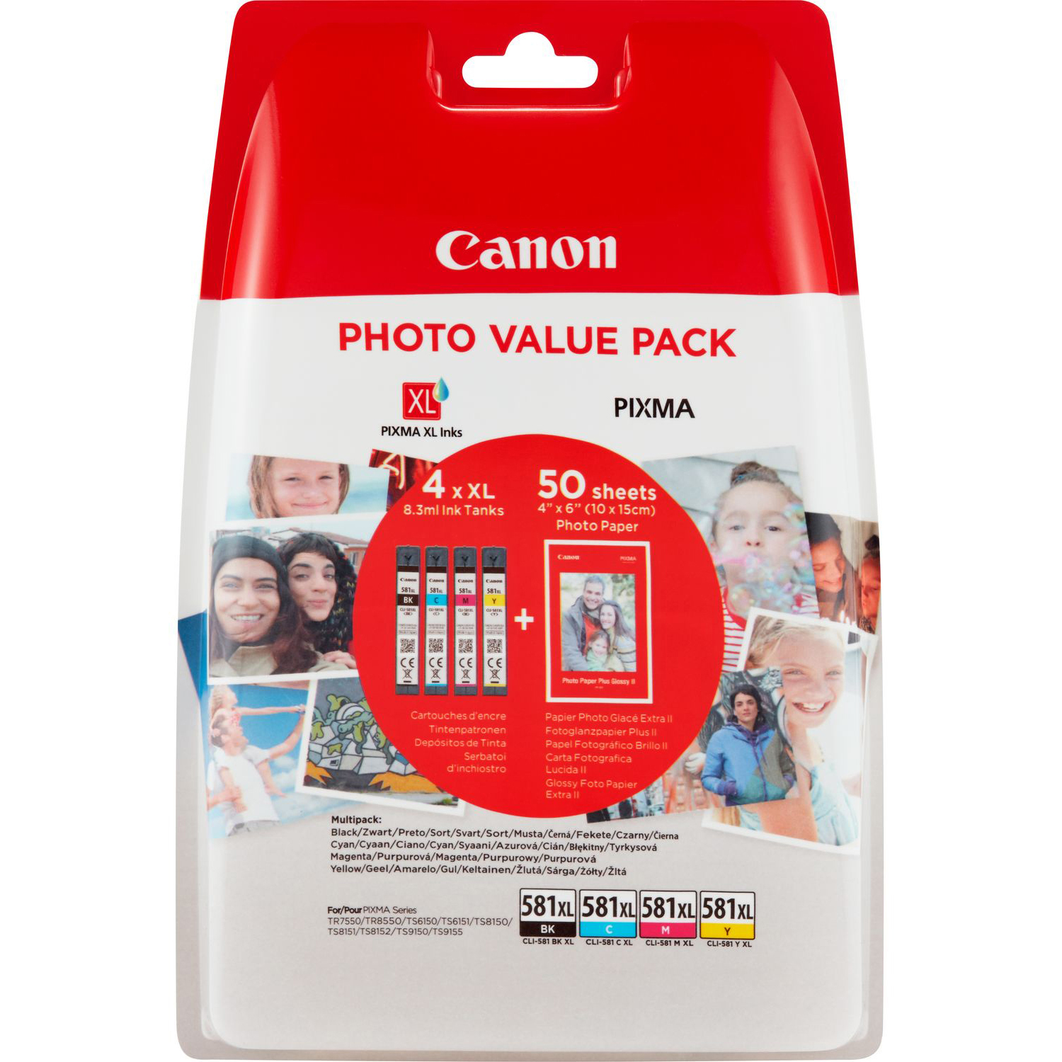 Original Canon CLI-581XL CMYK Multipack High Capacity Ink Cartridges & Photo Paper (2052C004)
