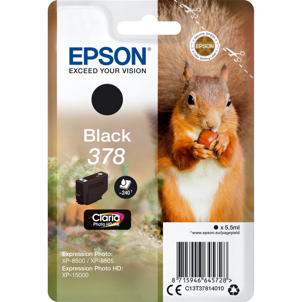 Original Epson 378 Black Ink Cartridge (C13T37814010)