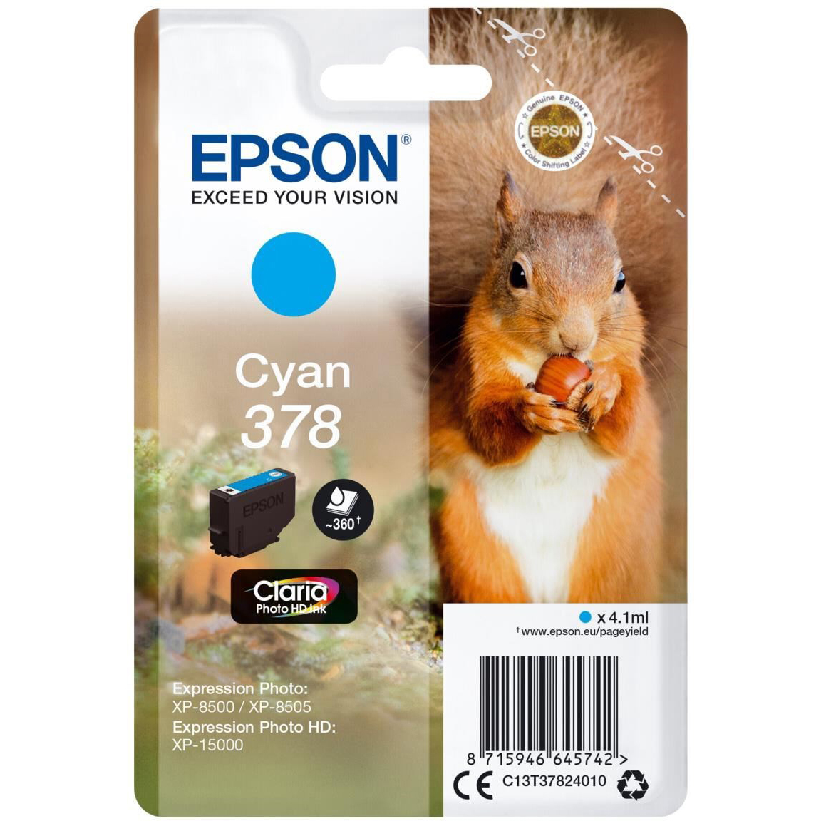 Original Epson 378 Cyan Ink Cartridge (C13T37824010)