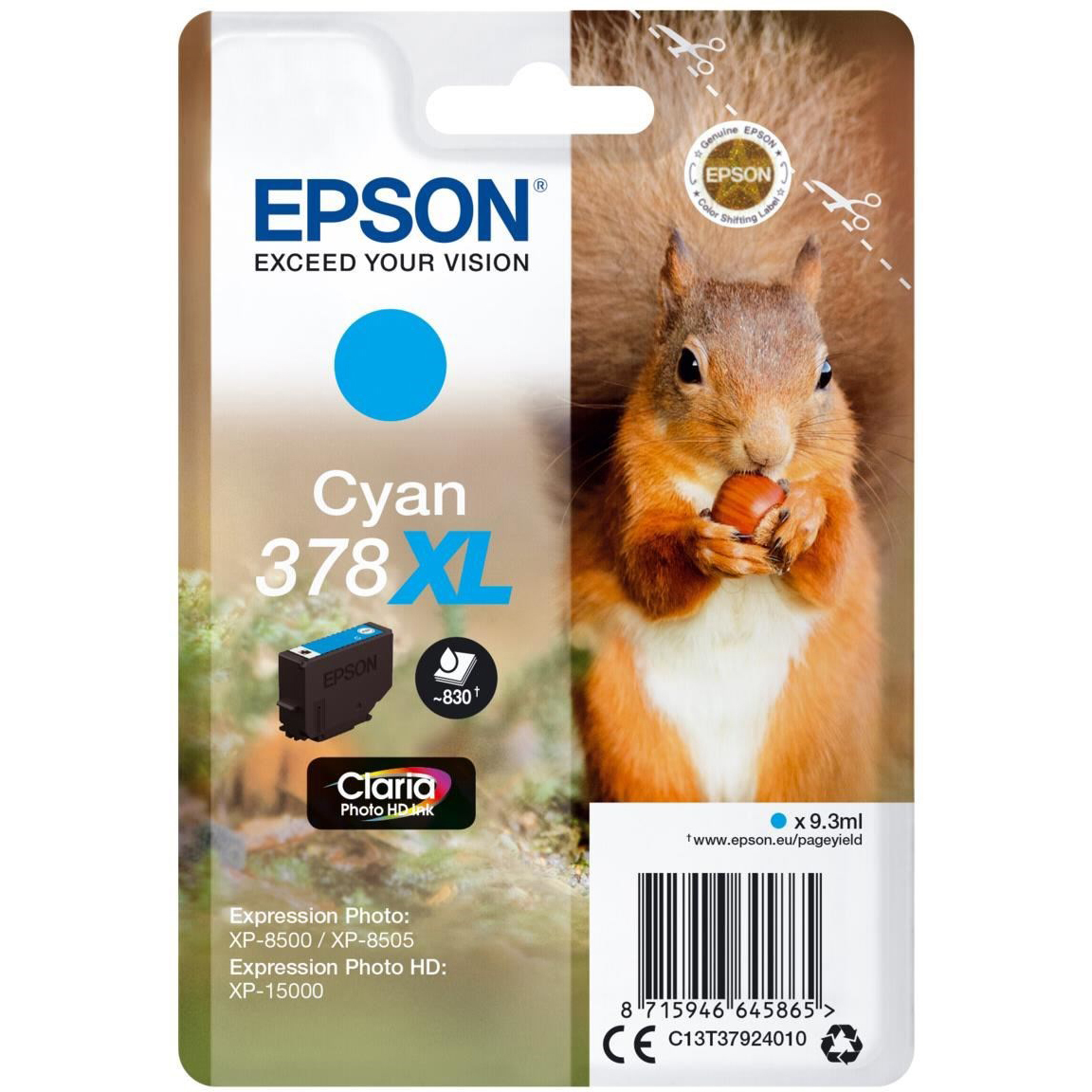 Original Epson 378XL Cyan High Capacity Ink Cartridge (C13T37924010)