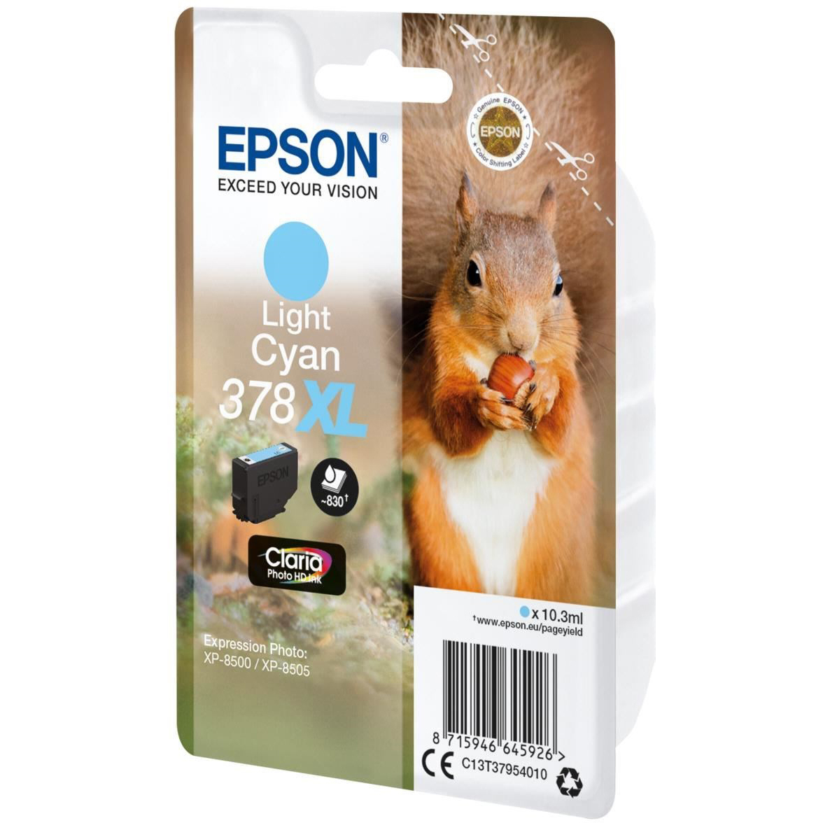 Original Epson 378XL Light Cyan High Capacity Ink Cartridge (C13T37954010)