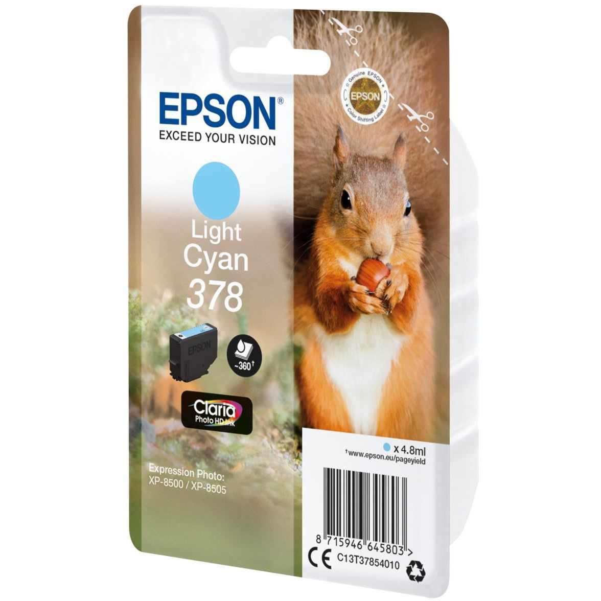 Original Epson 378 Light Cyan Ink Cartridge (C13T37854010)