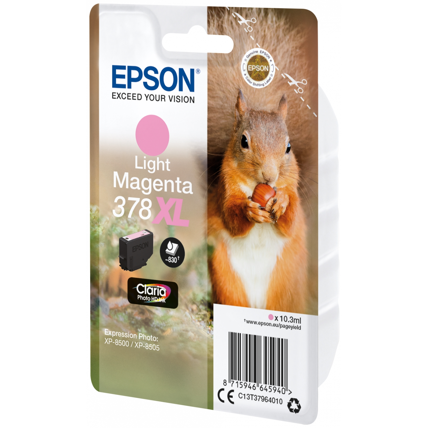 Original Epson 378XL Light Magenta High Capacity Ink Cartridge (C13T37964010)