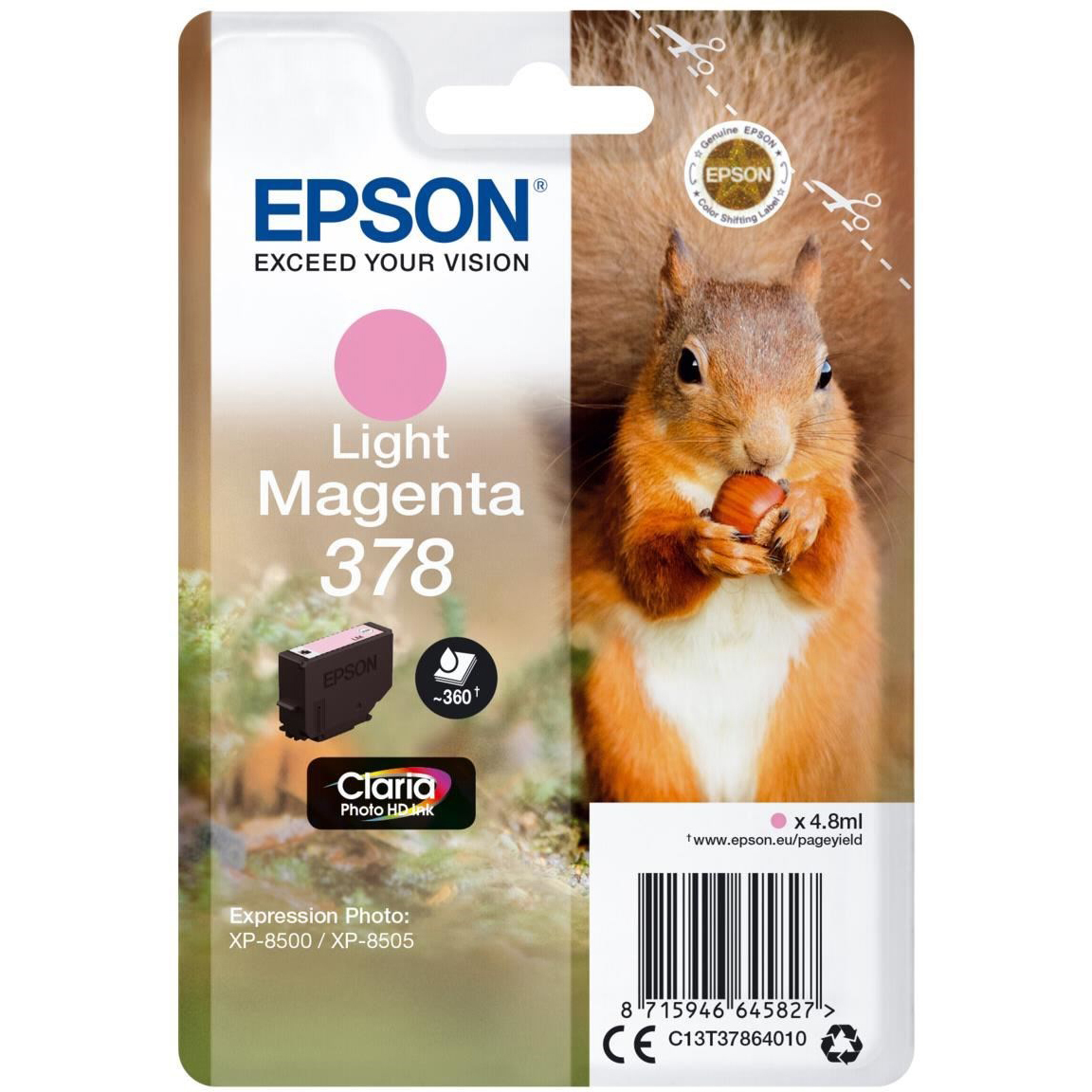 Original Epson 378 Light Magenta Ink Cartridge (C13T37864010)