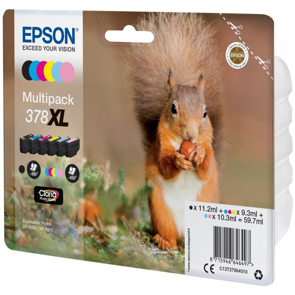 Original Epson 378XL C, M, Y, K, LC, LM Multipack High Capacity Ink Cartridges (C13T37984010)