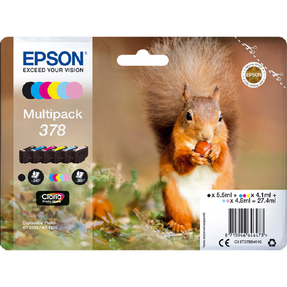 Original Epson 378 C, M, Y, K, LC, LM Multipack Ink Cartridges (C13T37884010)