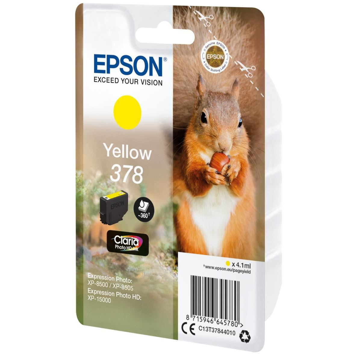 Original Epson 378 Yellow Ink Cartridge (C13T37844010)