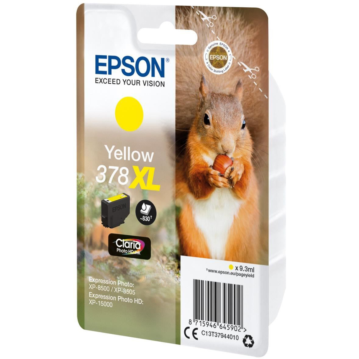 Original Epson 378XL Yellow High Capacity Ink Cartridge (C13T37944010)