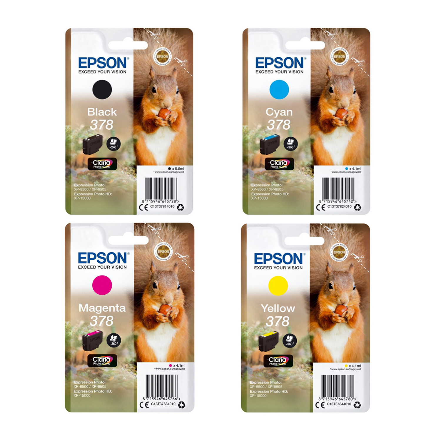 Original Epson 378 CMYK Multipack Ink Cartridges (T3781/ T3782/ T3783/ T3784)