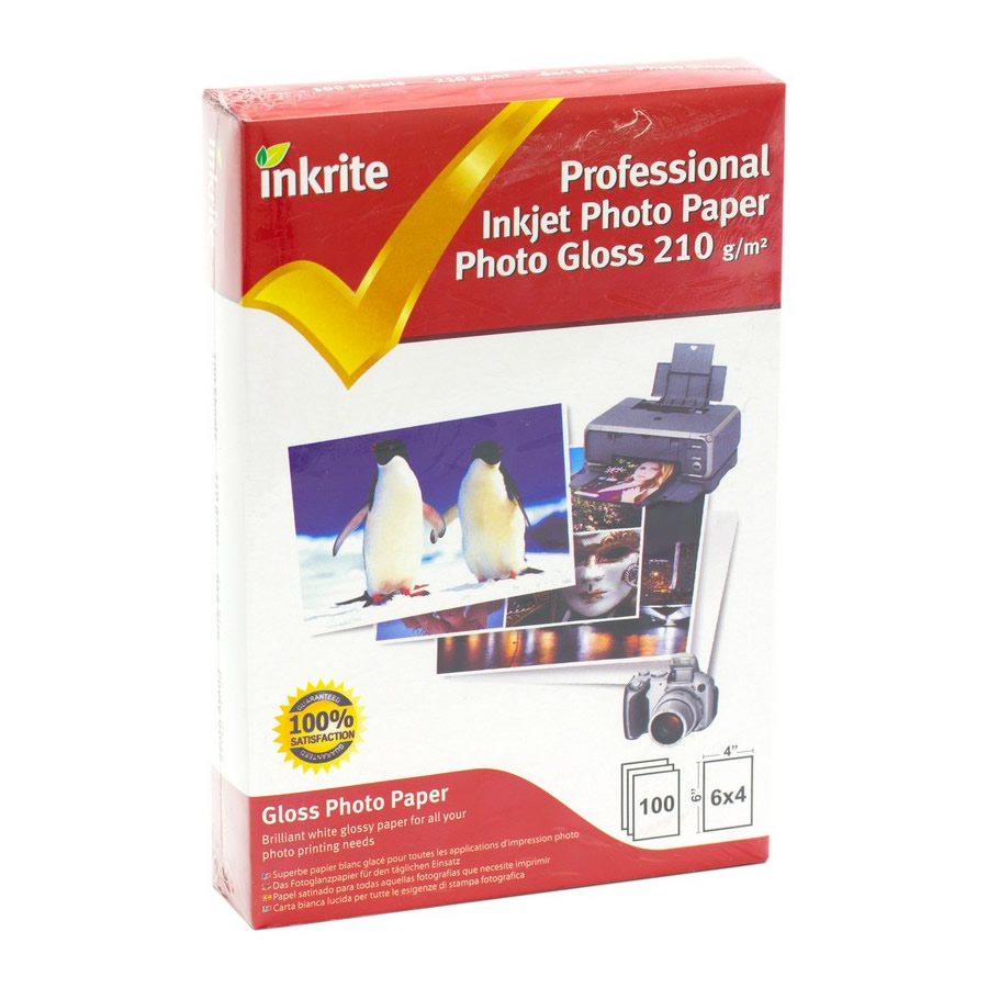 Original Inkrite PhotoPlus Professional Paper Photo Gloss 210gsm A6 6x4 - 100 sheets