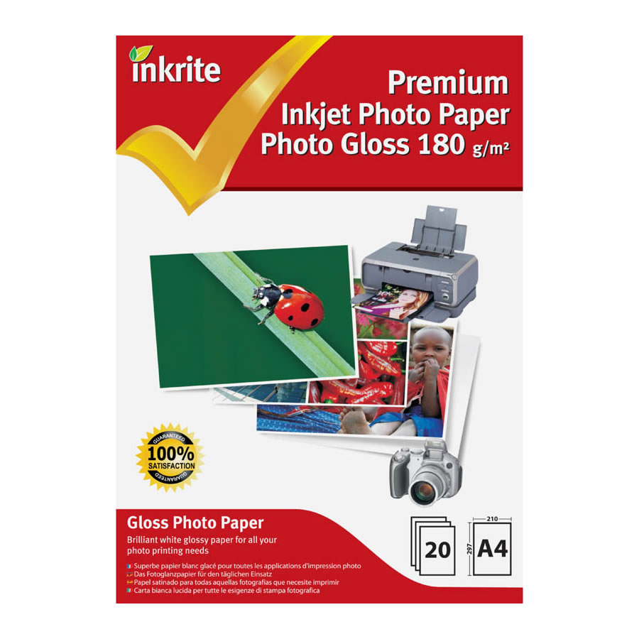 Original Inkrite PhotoPlus Premium Paper Photo Gloss 180gsm A4 - 20 sheets