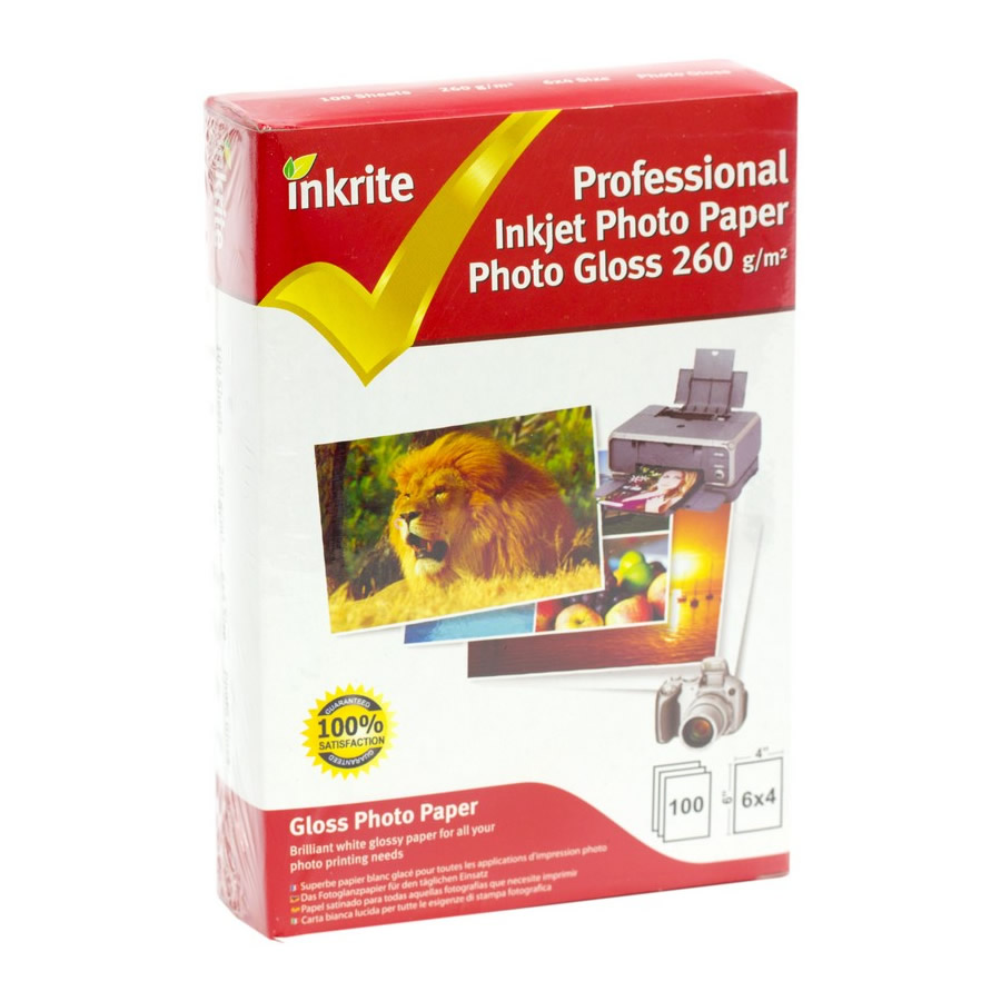 Original Inkrite PhotoPlus Premium Paper Photo Gloss 260gsm A6 6x4 - 100 sheets