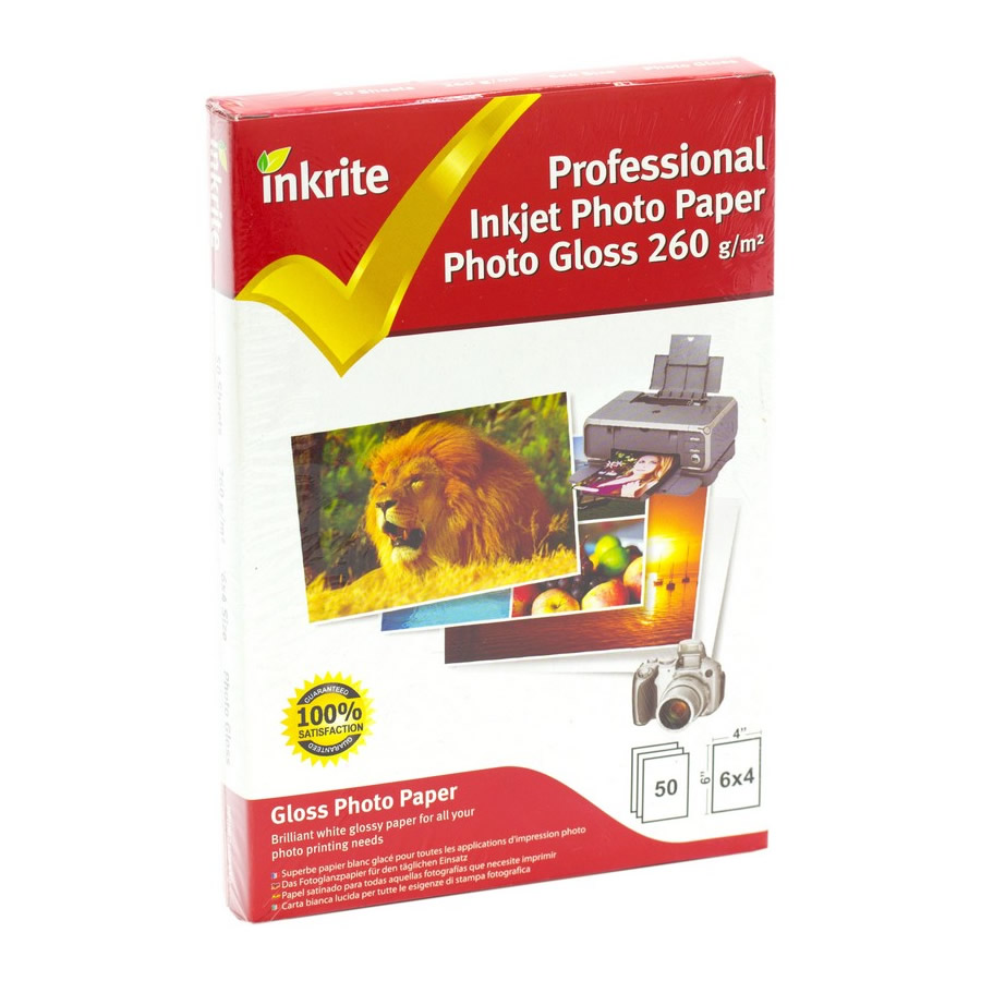 Original Inkrite PhotoPlus Professional Paper Photo Gloss 260gsm A6 6x4 - 50 sheets