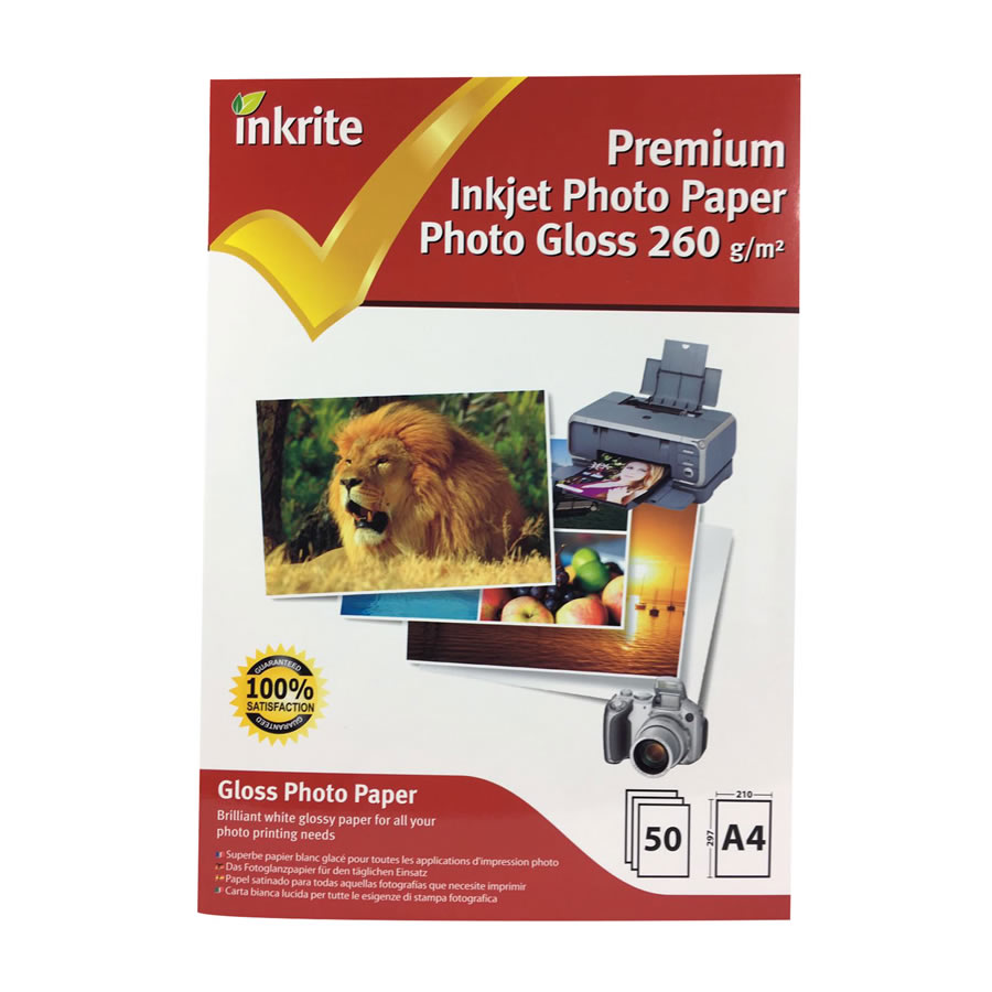 Original Inkrite PhotoPlus Professional Paper Photo Gloss 260gsm A4 - 50 sheets