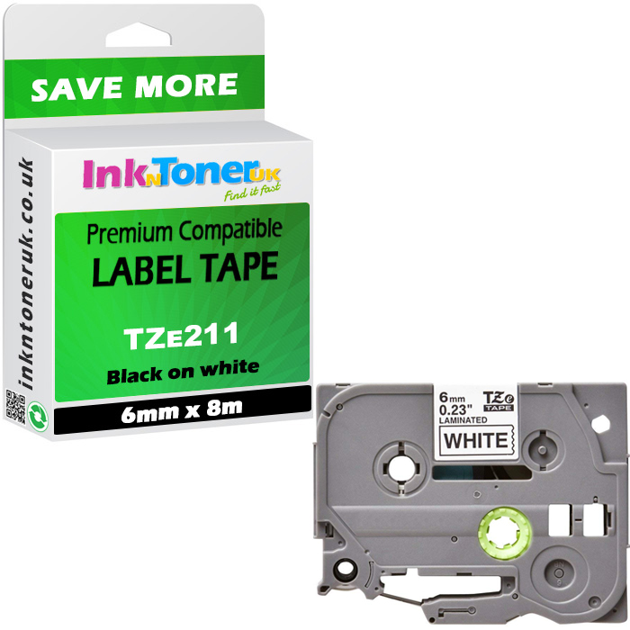 Premium Compatible Brother TZe-211 Black On White 6mm x 8m Laminated P-Touch Label Tape (TZE211)