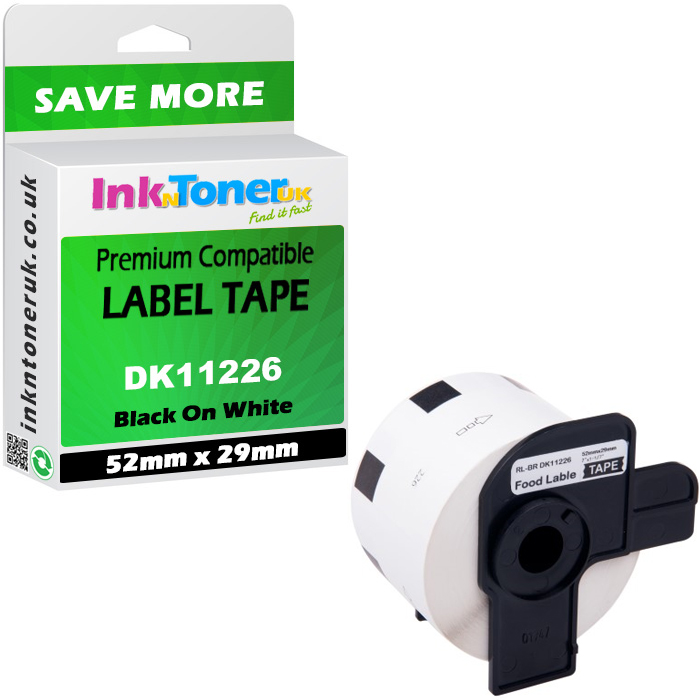 Premium Compatible Brother DK-11226 Black On White 52mm x 29mm Label Roll Tape - 1000 Labels (DK11226)