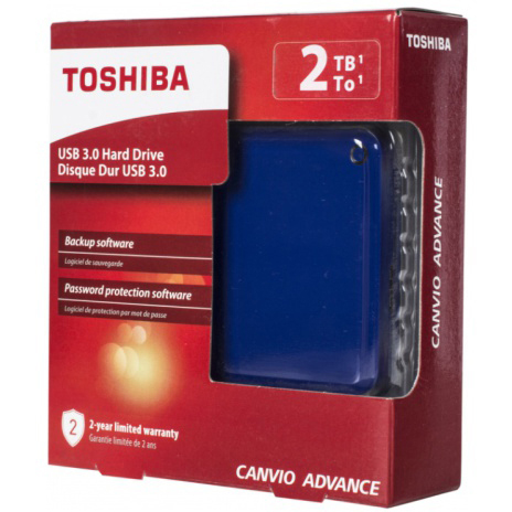 Original Toshiba Canvio Advance Blue 2TB USB 3.0 External Hard Drive (HDTC920EL3AA)