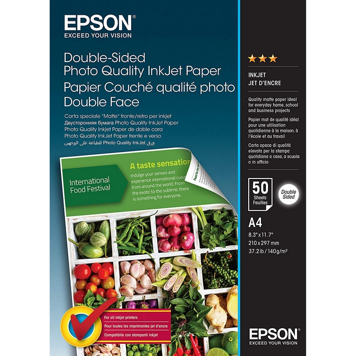 Original Epson 140gsm A4 Double-Sided Photo Quality Inkjet Paper - 50 Sheets (C13S400059)