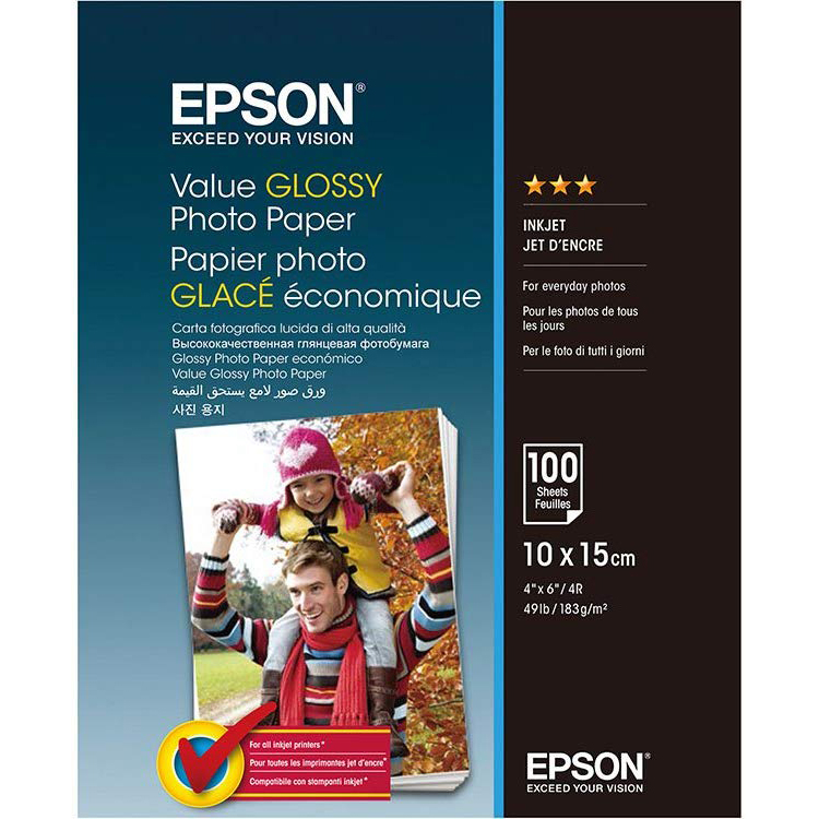 Original Epson 183gsm 10 x 15cm Glossy Photo Paper - 100 Sheets (C13S400039)
