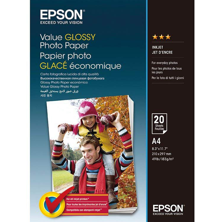 Original Epson 183gsm A4 Glossy Photo Paper - 20 Sheets (C13S400035)