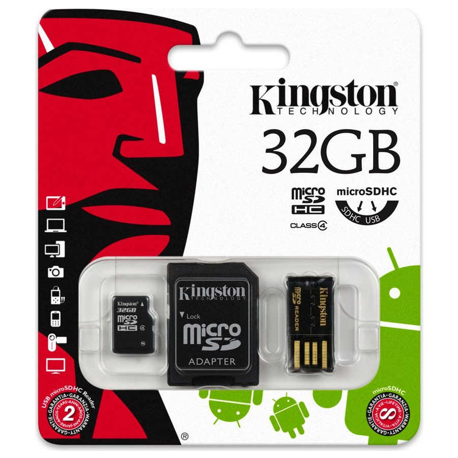 Original Kingston Technology Class 4 32GB microSDHC Multi Kit Memory Card (MBLY4G2/32GB)