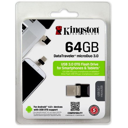 Original Kingston Technology 64GB USB 3.0 Micro Duo Flash Drive (DTDUO3/64GB)