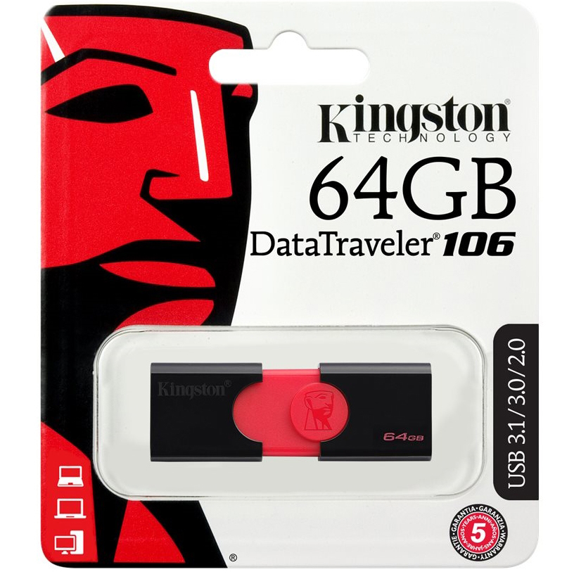 Original Kingston DataTraveler 106 64GB USB 3.0 Flash Drive (DT106/64GB)