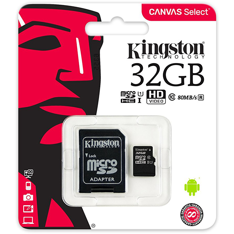 Original Kingston Canvas Select Class 10 32GB MicroSDXC Memory Card with SD Adaptor (SDCS/32GB)