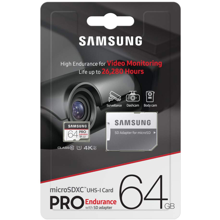 Original Samsung Pro Endurance 64GB microSDXC Memory Card + Adapter (MB-MJ64GA/EU)