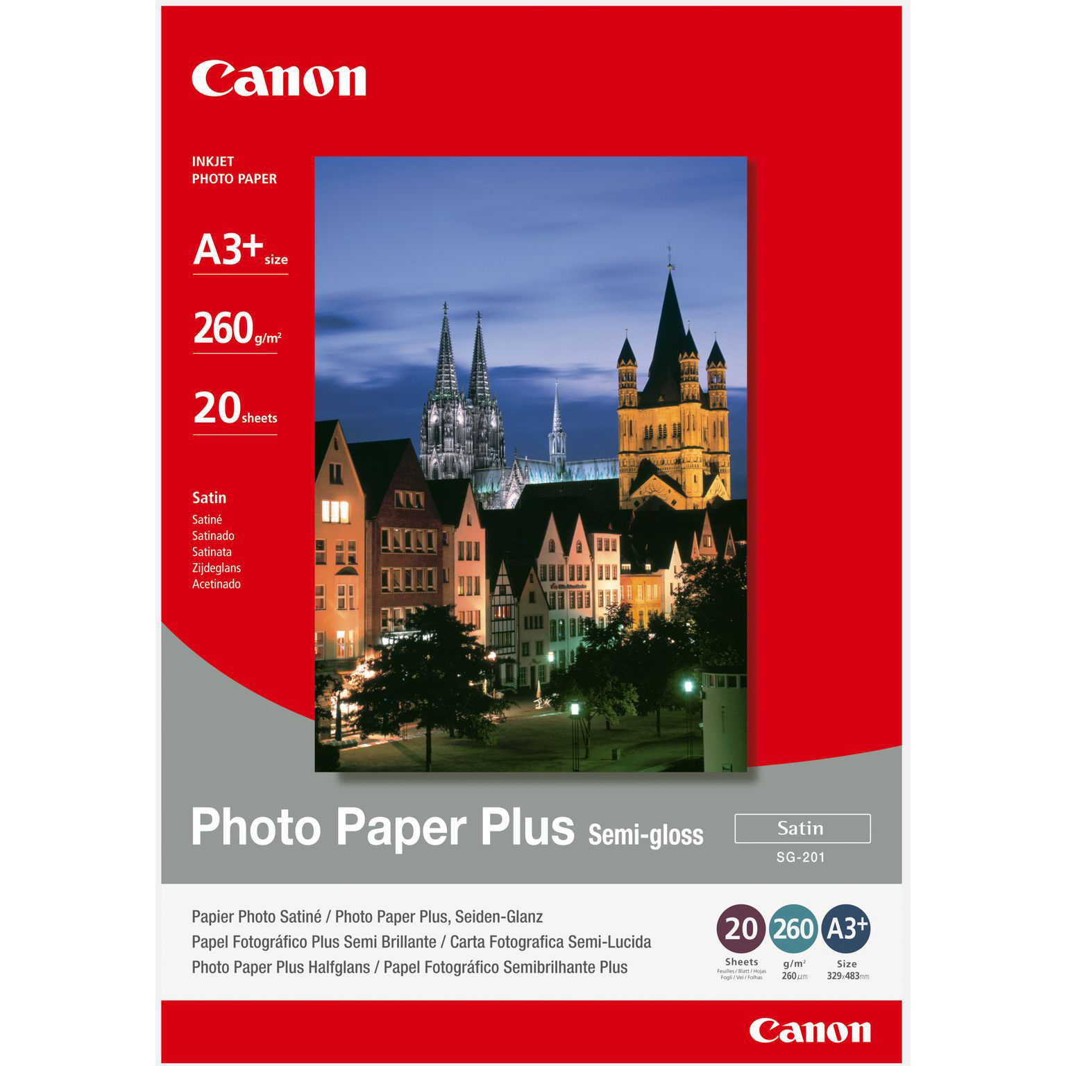 Original Canon SG-201 260gsm A3+ Semi-Gloss Photo Paper Plus - 20 sheets (1686B032)