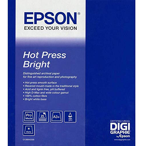 Original Epson 330gsm A3+ Hot Press Bright Photo Paper - 25 sheets (C13S042330)