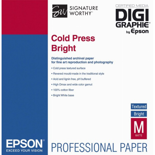 Original Epson 340gsm A3+ Cold Press Bright - 25 sheets (C13S042310)