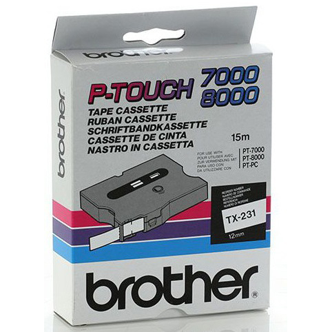 Original Brother TX-231 Black On White 12mm x 15m Label Tape (TX231)