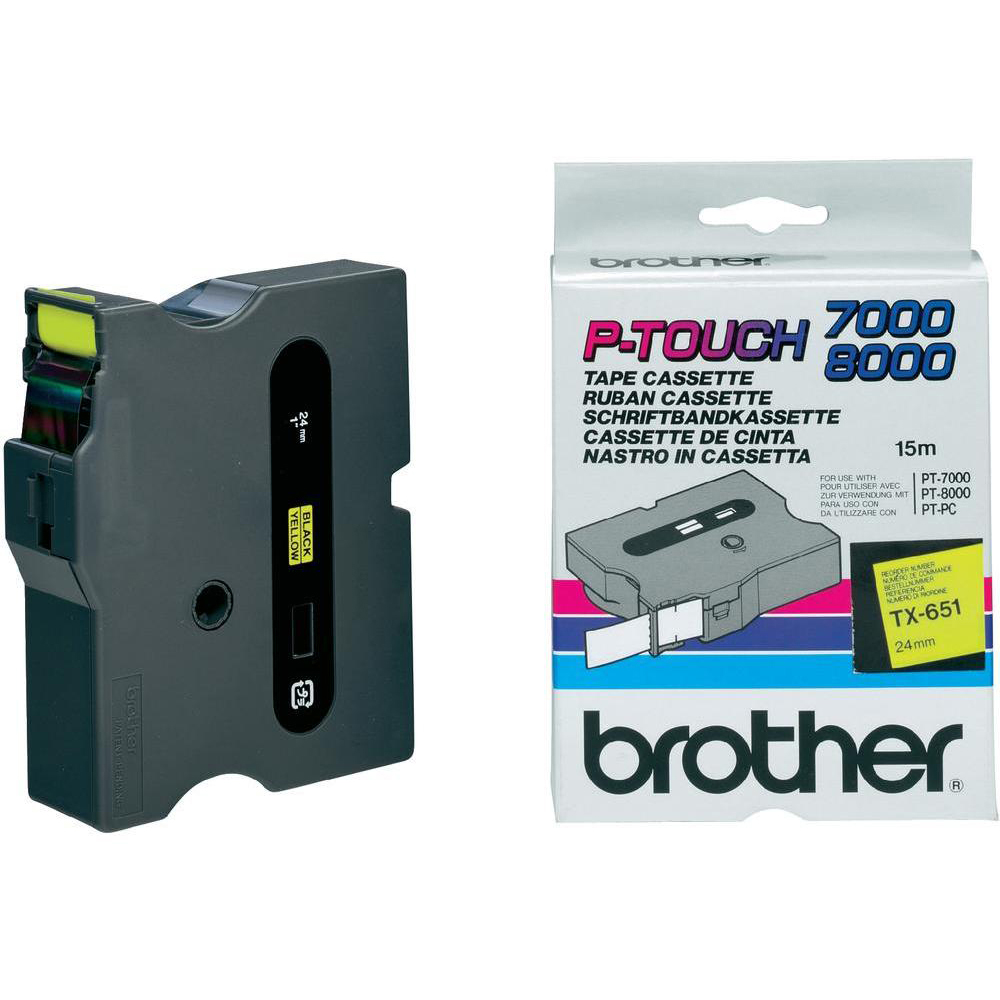Original Brother TX-651 Black On Yellow 24mm x 15m Laminated P-Touch Label Tape (TX651)