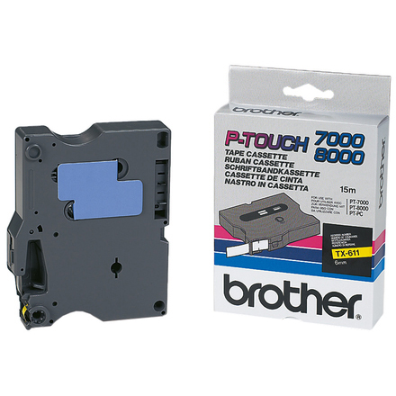 Original Brother TX-611 Black On Yellow 6mm x 15m P-Touch Label Tape (TX611)