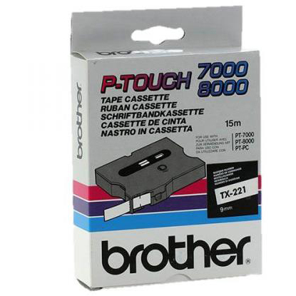 Original Brother TX-221 Black On White 9mm x 15m Label Tape Cassette (TX221)