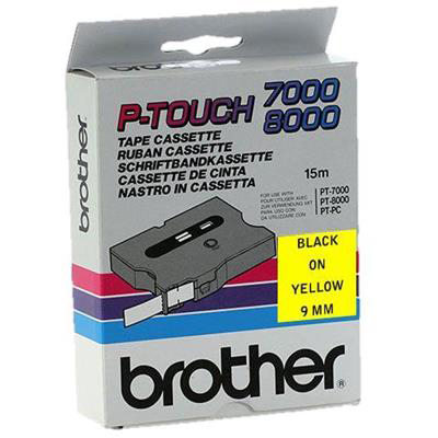 Original Brother TX-621 Black On Yellow 9mm x 15m Laminated P-Touch Label Tape (TX621)