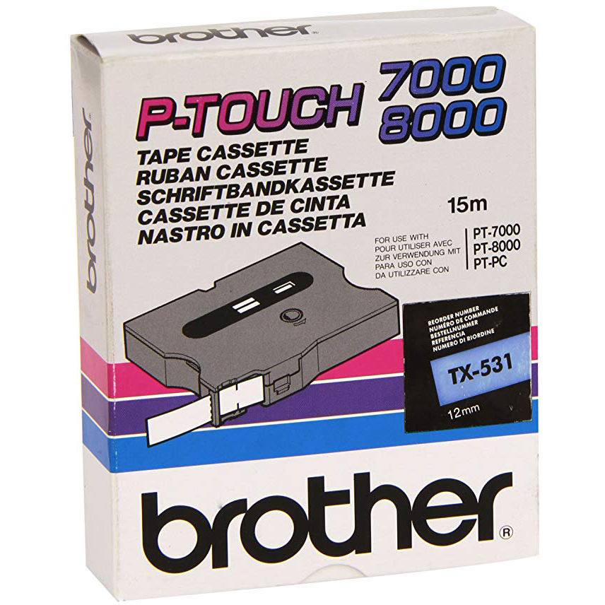 Original Brother TX-531 Black On Blue 12mm x 15m Laminated P-Touch Label Tape (TX531)