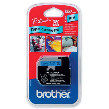 Original Brother MK521BZ Black On Blue Plastic Non Laminated 9mm x 8m Label Tape (M-K521BZ)