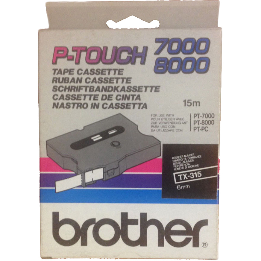 Original Brother TX-315 White On Black 6mm x 15m P-Touch Label Tape (TX315)