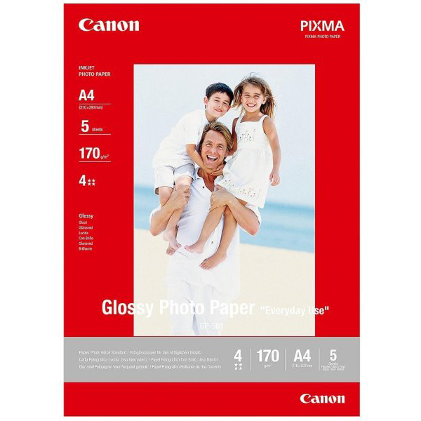 Original Canon GP-501 170gsm A4 Glossy Photo Paper - 5 sheets (0775B076)
