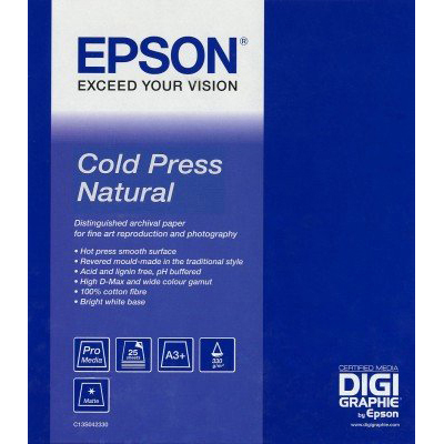 Original Epson 340gsm A3+ Cold Press Natural - 25 sheets (C13S042300)