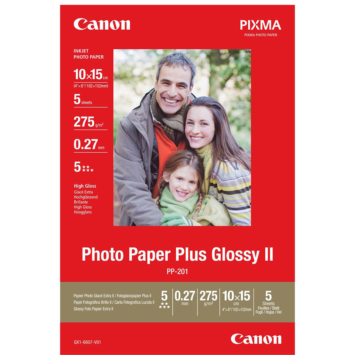 Original Canon PP-201 275gsm 100mm x 150mm High Gloss Photo Paper - 5 sheets (2311B053)