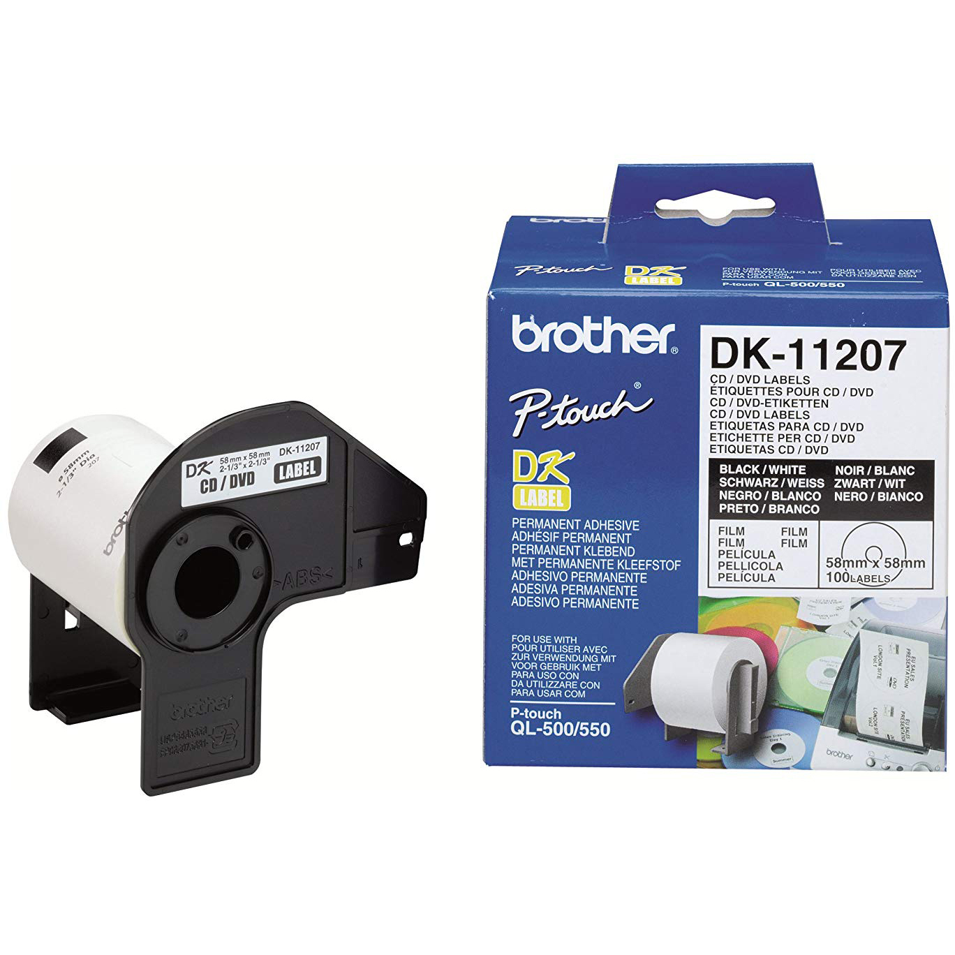 Original Brother DK-11207 CD/DVD Film Label Roll Black on White 58mm diameter Label Tape (DK11207)