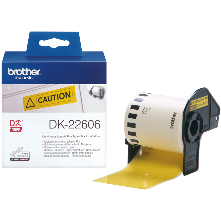 Original Brother DK-22606 Black On Yellow 62mm x 15.24m Continuous Paper Film Label Tape (DK22606)