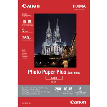 Original Canon SG-201 260gsm 10 x 15cm Semi-Gloss Photo Paper Plus - 5 sheets (1686B072)
