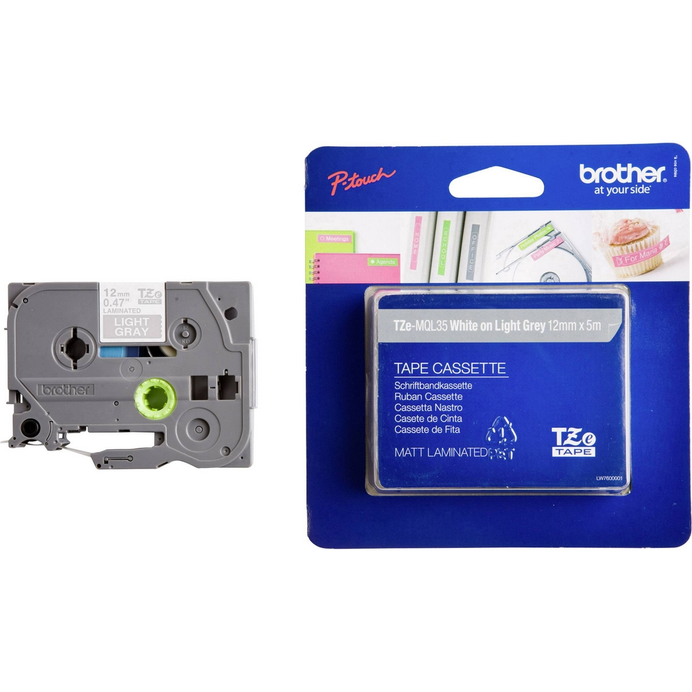Original Brother TZeMQL35 White on Grey 12mm x 5m Laminated P-Touch Label Tape (TZe-MQL35)